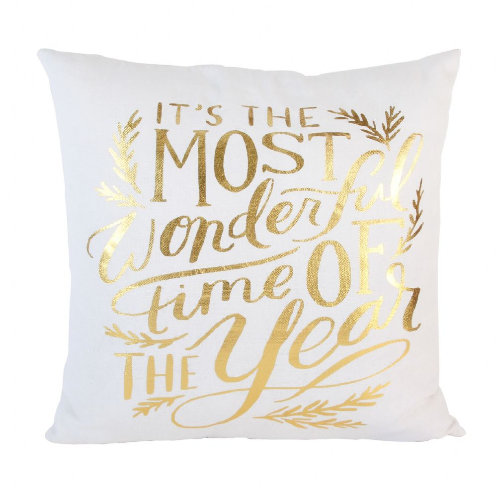 White and Gold Christmas Cushion Seasonal Winter Home Decor